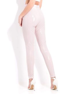 Gloss Lady Faux Patent Skinny Pants BLACK PINK RED YELLOW - GoJane.com Skinny Pants, Yellow Black, How To Look Pretty, Black Pants, Patent Leather, Jumpsuit, Lady, How To Wear, Cotton