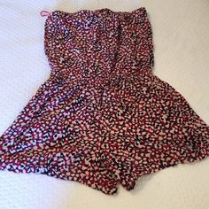 Multi colored romper ! Barely worn Multi colored romper red white black -barely worn size small Other
