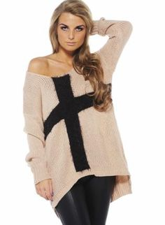 Light Pink Knit Long Sleeve Sweater with Contrast Cross,  Sweater, oversized sweater  asymmetric hem, Casual