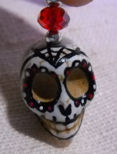 Sugar Skull Day of the Dead Pendant Black & Red by SomethingWiccan, $15.00
