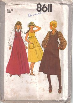 Vintage Simplicity's Miss Blouse Empire Waist Jumper Sun Dress Uncut Pattern 8611 Size 10  Bust 32 circa 1978 by EvaStAlbans on Etsy