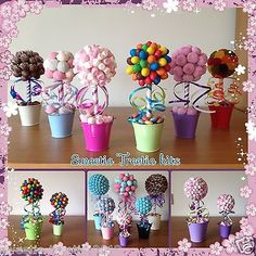 Details about Small Mini Sweet Tree Kit Chocolate Flowers, Chocolate Bouquet, Candy Crafts, Diy Crafts, Lollipop Tree, Candy Trees, Candy Display, Sweet Trees, Candy Bouquet