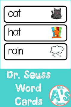 These words card sets are perfect for your writing center in your preschool or kindergarten classroom during your Dr. Seuss theme! #drseuss #preschool Phonics Lesson Plans, Phonics Lessons, Writing Lessons, Writing Activities, Kindergarten Themes, Preschool Themes, Kindergarten Worksheets, Rhyming Worksheet, Rhyming Poems