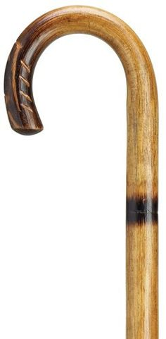 Rattan Crook Cane - Hand Carved Nose Round nose hand carved crook handle cane of rattan with four scorched step shaft. The shaft is 36 inches long and measures 1 inch in diameter. Replacement tip #803