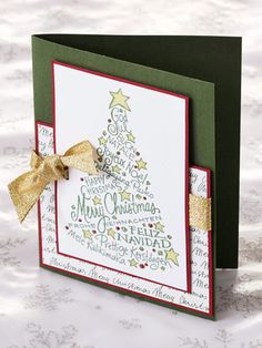 "Tied with a Bow Tied with a Bow  Tell them ""Merry Christmas"" in languages from around the world. Begin with a jewel-green base and layer pieces of dark red and cursive-print paper. Glue a golden-glittered bow before securing your last layer of paper."