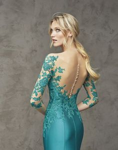 Cache Couture Evening Dresses turquoise lace dress