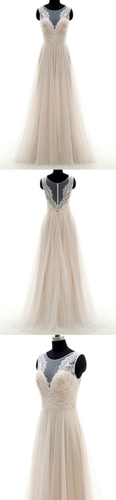 Champagne Floor Length A-Line Tulle Wedding Gown Featuring Lace Appliqué Sweetheart Illusion Bodice and Sweep Train