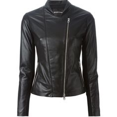 Emporio Armani Off-Centre Zip Jacket (€740) ❤ liked on Polyvore featuring outerwear, jackets, black and emporio armani