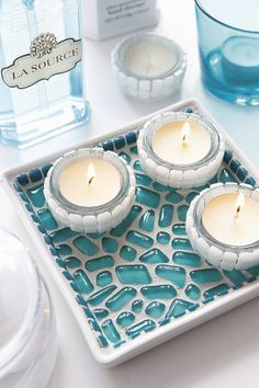 How to make a tealight display; an attractive feature on a bathroom shelf or bedside table using mosaic on a ceramic tray