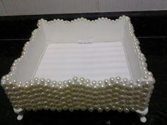 Ateliê Sonho de Papel(caixa em mdf,pintada,forrada e decorada toda com pérolas)