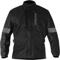 Alpinestars Hurricane Jacket: Constructed from ultra-lightweight PU coated 100% waterproof poly-nylon fabric that has been specially treated to avoid sticking when worn over textile or leather garments. (Black fluo colorway incorporates poly-textile panels for colorfastness).  Velcro adjustments on the arms and waist and shock chord adjuster ensure close fit over outer garment.