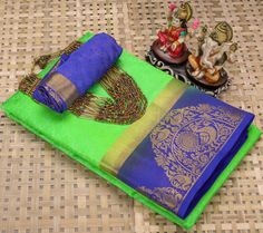 Green soft silk saree, festival saree with blouse piece Kanjivaram Sarees, Lehenga Saree, Bollywood Saree, Georgette Sarees, Soft Silk Sarees, Cotton Saree, Saree Wedding, Wedding Wear, Ethnic Wear Designer