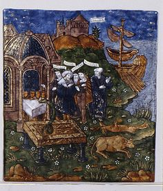 Book V As Aeneas sacrifices before the tomb of Anchises, a large serpent comes from the tomb and partakes of sacrificial foods. [ Master of the Aeneid, enamel]