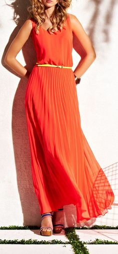 Orange Crush Pleated Maxi Dress  Orange isn't Jacqueline's color but... hm. *tilts head* The swooshiness of this reminds me of someone. I could actually. Huh. I could see Nadra wearing something like this when she's with Admar.