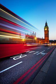 Bus Lane. London, England. Big Ben Stands Guard