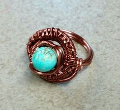 #156 Antique copper wire wrapped ring with turquiose / δακτυλίδι πλεγμένο σε αντικέ χαλκό με τυρκουάζ πέτρα