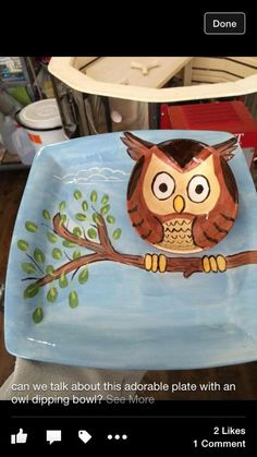 Owl Bird Branch DIY Chip and Dip Bowl Paint Your Own Pottery ceramic. Pottery Painting Designs, Pottery Designs, Pottery Ideas, Paint Designs, Ceramic Cafe, Ceramic Pottery, Painted Pottery, Painted Plates, Hand Painted Ceramics
