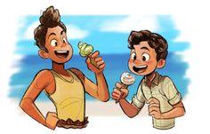Disney Movies, Disney Pixar, Disney Art Style, Disney Fan Art, Lucas Movie, Mermaid Movies, Lucas Arts, Boy Fishing, We Bare Bears