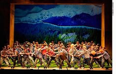 Here is an official shot of Only Boy Aloud on stage with Welsh National Youth Opera during the Lumberjack Chorus in Paul Bunyan.    Photo Credit Catherine Ashmore