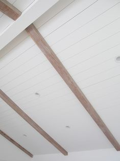 How to De-Orange Wood Beams : Vaulted ceiling, white shiplap ceiling paneling, master suite renovation Painted Wood Ceiling, Painted Beams, Shiplap Ceiling, Wood Ceilings, Wood Beams, White Ceiling, Vaulted Ceiling With Beams, Vaulted Ceiling Bedroom, Vaulted Ceilings