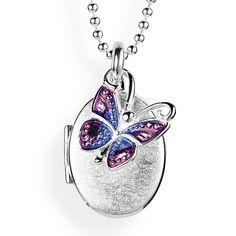 MyName, Medaillon zum Aufklappen aus Silber eismatt mit lackiertem Schmetterlingeinhänger.
