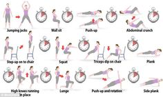 The Seven Minute Workout : supposedly as many health benefits as a long run followed by weight training.