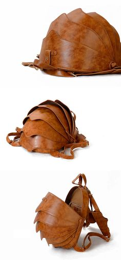 Leather Backpack or Crossbody Bag-Small Brown Beetle by KiliDesign