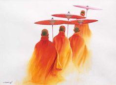 Traveller Monks (3) by Min Wae Aung - watercolour
