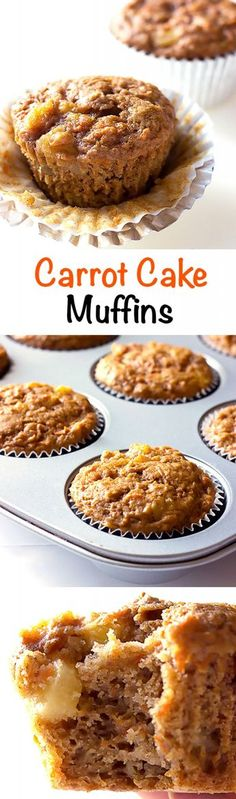 Carrot Cake Muffins - moist & lightly sweet muffins with finely grated carrots, crushed pineapple, and applesauce. Perfect for breakfast or a snack.