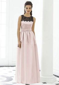Long Lace Ruched High Neck A-line Satin Bridesmaid Dress