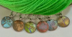Stylized Rainbow Trees, stitchmarkers for KNITTERS, larger needles. $6.50, via Etsy.