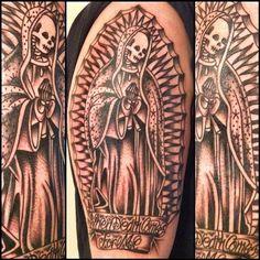 Santa Muerte By Lola Garcia @msdead ☆EXOTICO CREW BARCELONA☆ #exotico #exoticocrewbarcelona #tattoo  www.lolagarciatattoo.com  www.exoticocrewbarcelona.tumblr.com (at EXOTICO CREW BARCELONA)