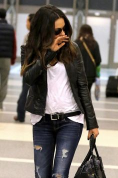casual leather jacket, white tee and jeans