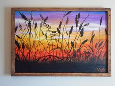 Sunset Wheat Field Original Acrylic Painting Silhouette Harvest by MMurphyArtStudio on Etsy https://www.etsy.com/listing/232134514/sunset-wheat-field-original-acrylic