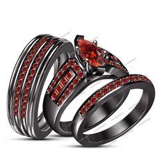 14k Black Gold Finish 3 Ct Blue Sapphire Wedding His Her Trio Ring