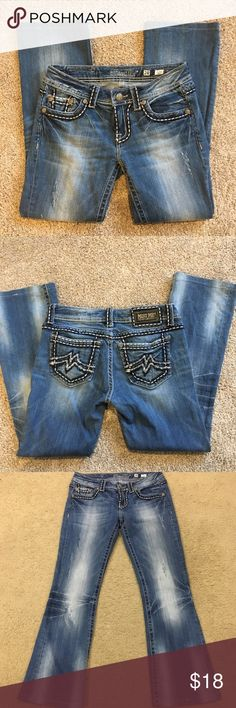 "Miss Me Minimalist Jeans Miss Me brand distressed jeans, size 28 short. Re-posh! These are awesome jeans but the rise doesn't work for me. Factory distressed with feathering in hips and knees, in great used condition. No flaws. These have been professionally hemmed (not while in my possession though).   Waist 14.5"" Rise 7.5"" Inseam 27"" Miss Me Jeans Boot Cut"