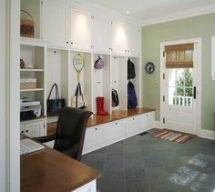 Mud Room/Command Center: I would love this just off the kitchen, with an entrance to the kitchen and garage, washer & dryer and sink in this space as well ...love storage/built-ins & slate floors!