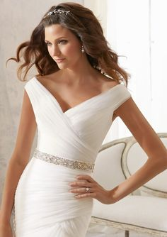 Wedding Bridal Gowns Accessories Crystal Beaded Organza Tie Sash Available in Ivory, White