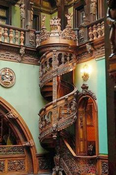 carved wooden spiral staircase Romania