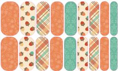Fall Frolic 2 (mixed mani) Jamberry Nail Art Studio: A sweet medley of fall patterns, including little acorns, to get you it the mood for a change in the weather.