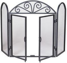 Uniflame® Scrolled Arched Black 3-Panel Wrought Iron Fireplace Fire Screen with Doors