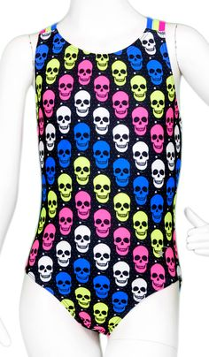 Destira: Neon Skulls Leotard #leotard #leotards #gymnastics #gymnast #halloween #holidayleotard #destira