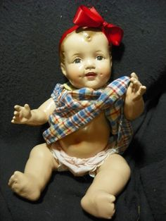 "16"" Vintage All Composition Baby Doll/ big smile !!- so cute!!"