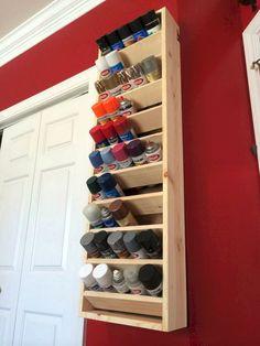 Garage Spray paint storage rack with good tutorial. Workshop Storage, Shed Storage, Garage Workshop, Tool Storage, Garage Storage, Workshop Design, Workshop Ideas, Storage Rack, Workshop Organization