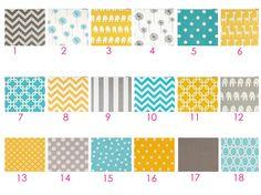 Yellow Aqua and Gray Baby Bedding  Custom Crib Bedding by HappyMae, $130.00