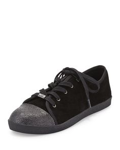 Delman Magie Low-Top Suede Sneaker, Black, Women's, Size: 39B/9B