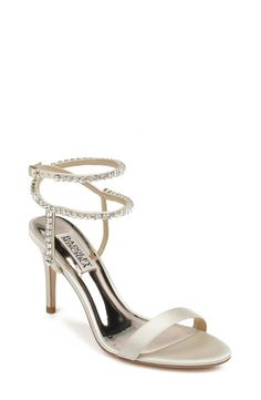 Satin Color, Nordstrom Gifts, Fab Shoes, Embellished Sandals, Evening Shoes, Badgley Mischka, Strappy Sandals, Girls Shoes, Ivory