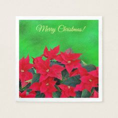 Merry Christmas green poinsettia cocktail napkins - home gifts ideas decor special unique custom individual customized individualized