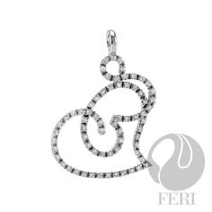 """- 925 fine sterling silver - micron natural rhodium plating - Set with AAA white cubic zirconia - Dimension: (Length) x (Width) click above on """"visit site"""" to purchase Sterling Silver Pendants, Plating, Symbols, Gemstones, Earrings, Bridal Collection, Galleries, Swag, Silver Rings"""