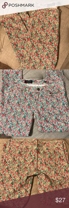 JCrew toothpick denim Super cute floral print on these JCrew denim.  It's a super soft denim     Make an offer. J. Crew Jeans Straight Leg